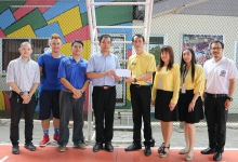 Gave a backboard to the school director of  Maekeu Wittaya school